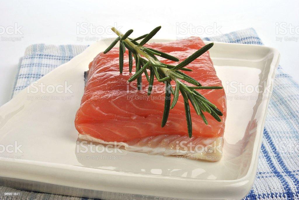 raw organic wild salmon steak from the irish west coast royalty-free stock photo