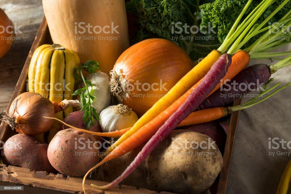Raw Organic Winter Farmers Market Box stock photo
