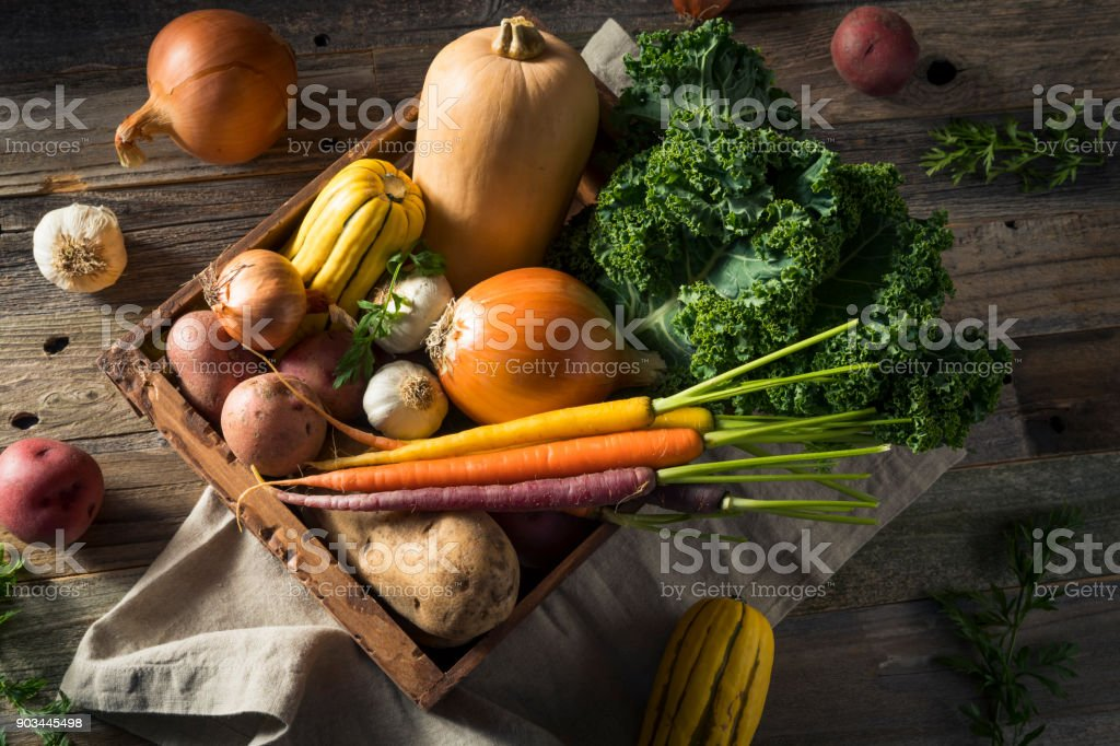 Raw Organic Winter Farmers Market Box stock photo