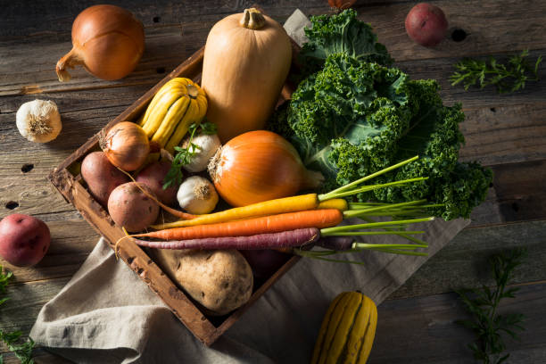 raw organic winter farmers market box - vegetable stock pictures, royalty-free photos & images
