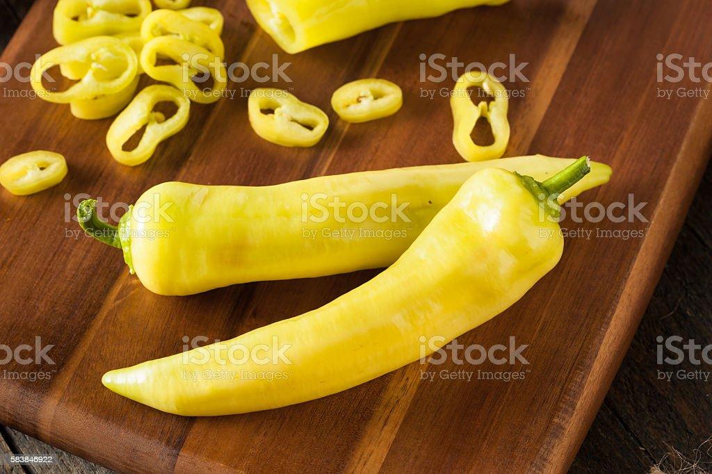 Raw Organic Yellow Banana Peppers stock photo