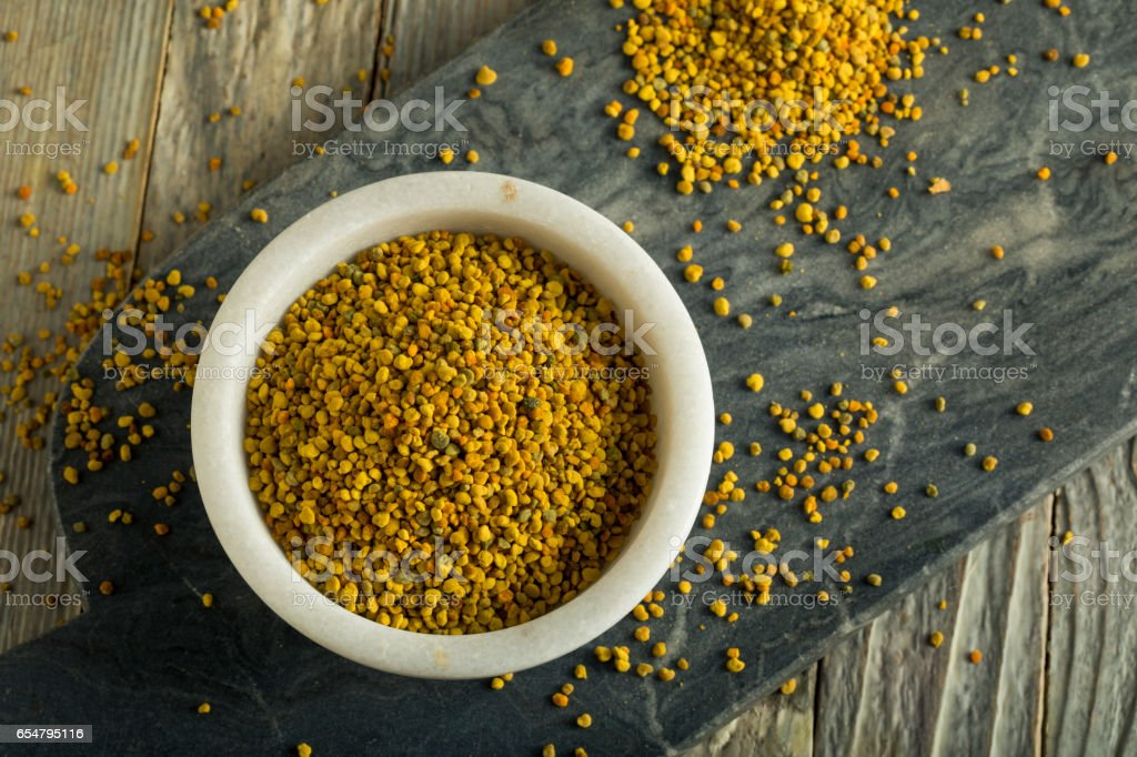 Raw Organic Yellow Bee Pollen stock photo
