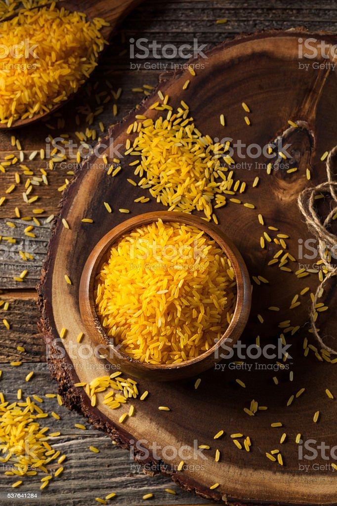 Raw Organic Yellow Saffron Rice stock photo