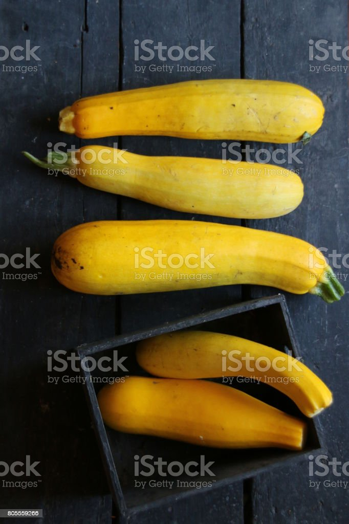 Raw Organic Yellow Zucchini stock photo