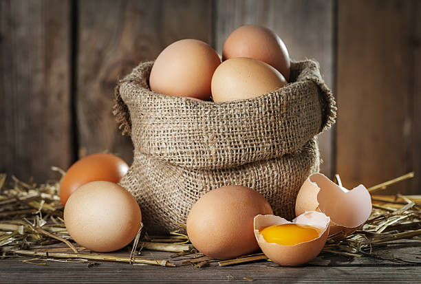 Raw organik farm eggs stock photo
