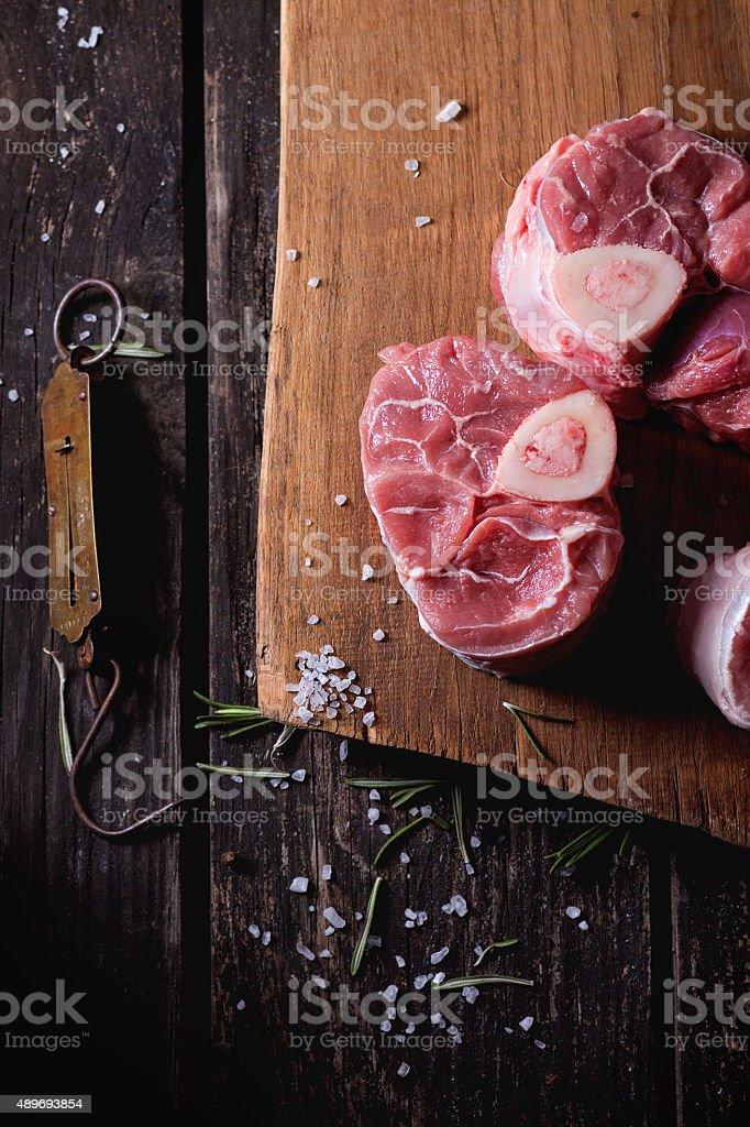 Raw osso buco stock photo