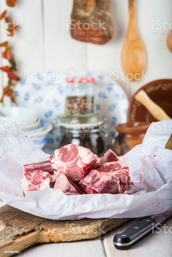 Raw oxtail on the table of the kitchen stock photo