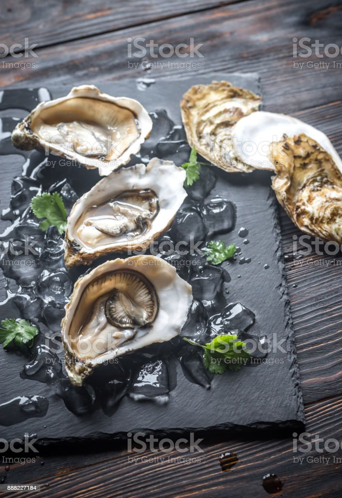 Raw oysters on the black stone board stock photo