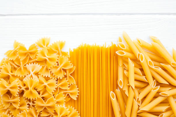 Raw pasta backgroung stock photo