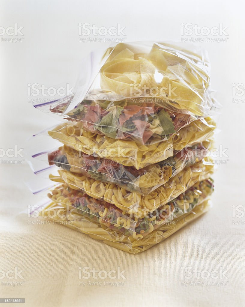 Raw Pasta in sandwich bags stock photo