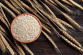 Raw peeled barley grains  (Hordeum vulgare) in Clay bowl