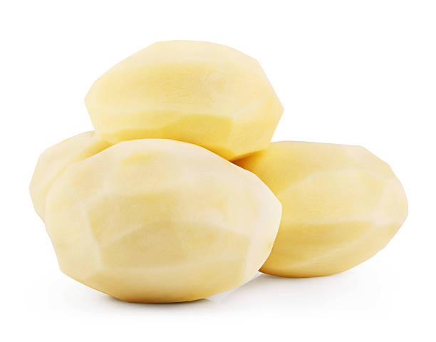 raw peeled potatoes - peeled stock photos and pictures