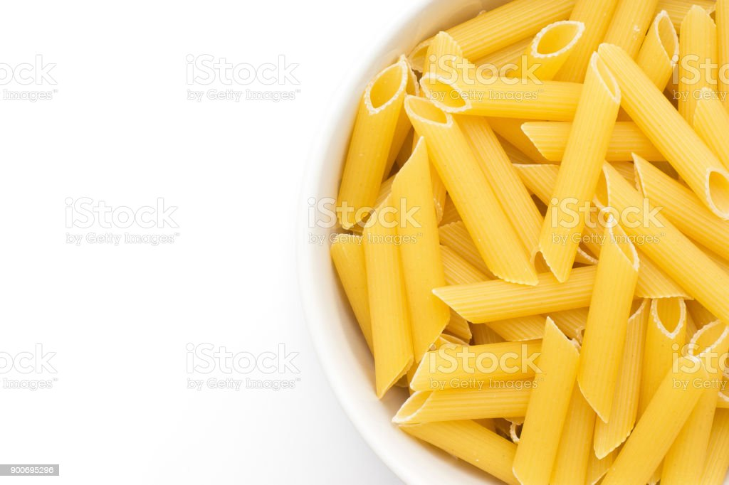 Raw Penne isolated stock photo