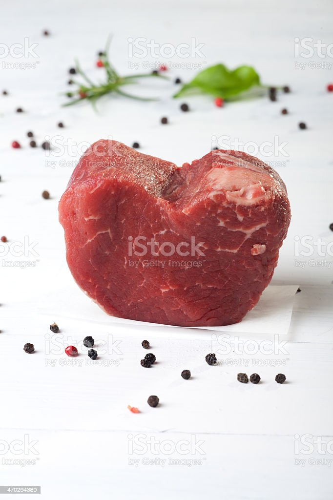 raw piece of beef loin stock photo