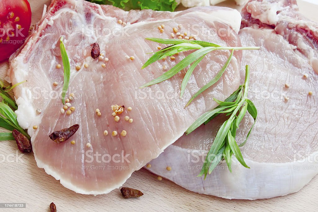 Raw pork chop fillets with spices royalty-free stock photo