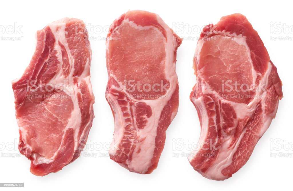 Raw pork cutlet stock photo
