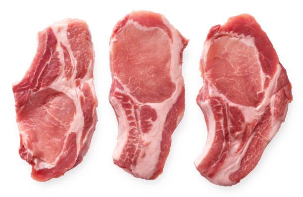 Raw pork cutlet stock photo