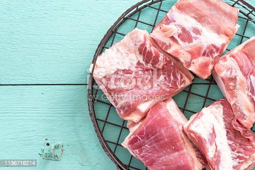 Raw pork in an iron basket