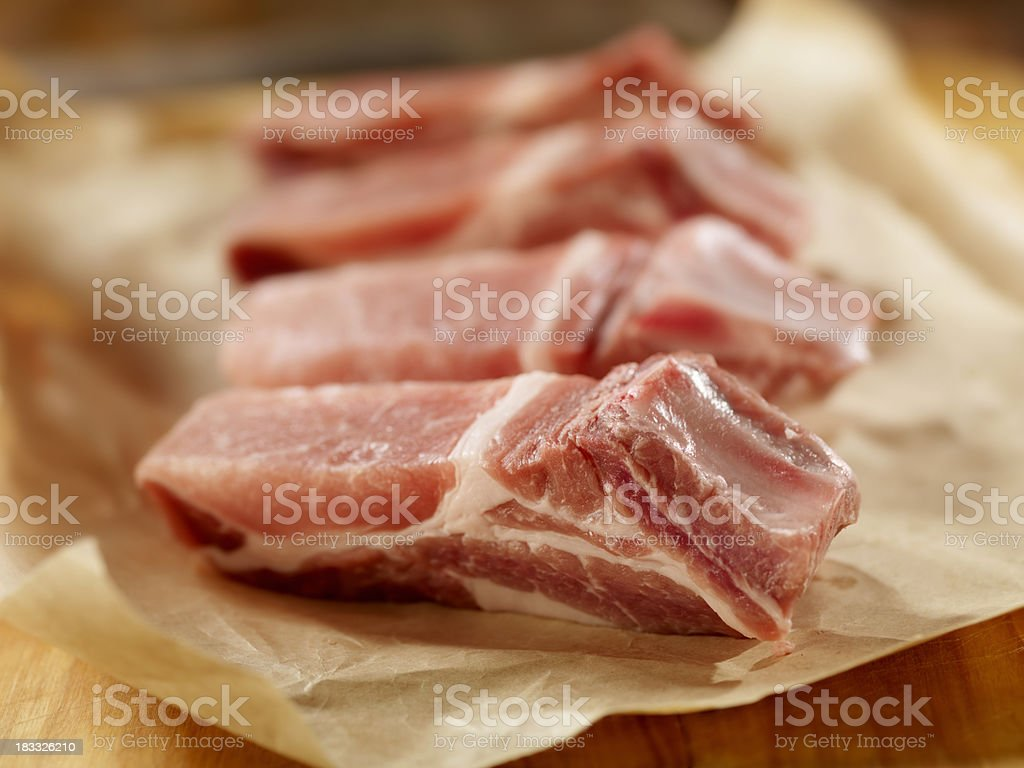 Raw Pork Loin Country Style Ribs stock photo