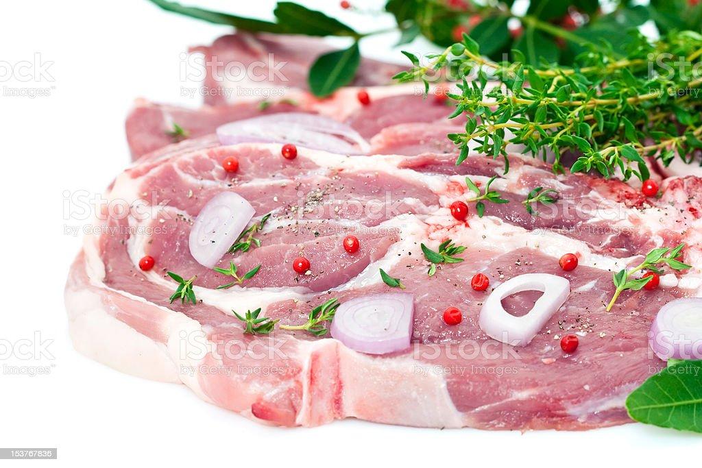 Raw pork meat and seasoning royalty-free stock photo