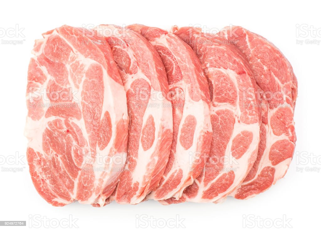 Raw pork meat isolated on white stock photo