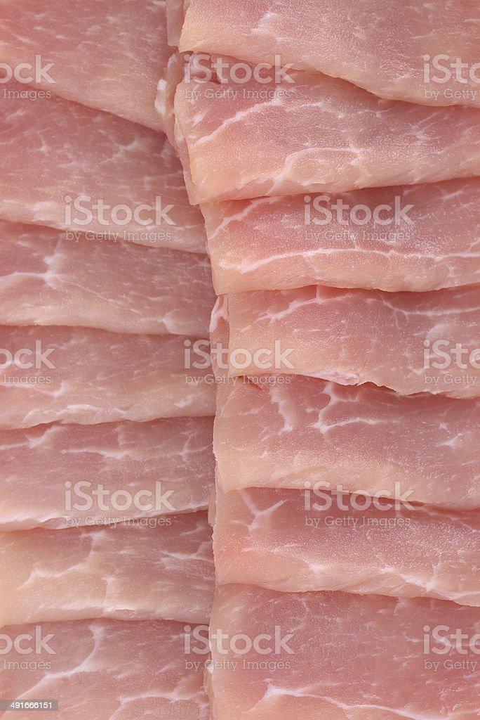 Raw pork slices stock photo