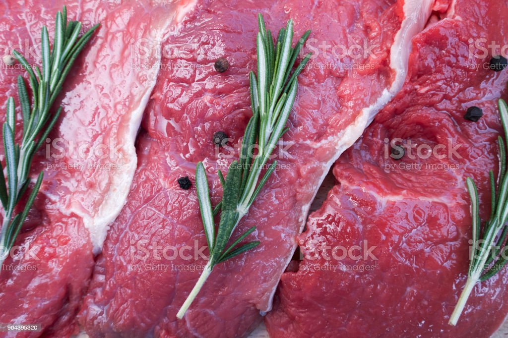 Rauw varkensvlees biefstuk - Royalty-free Avondmaaltijd Stockfoto