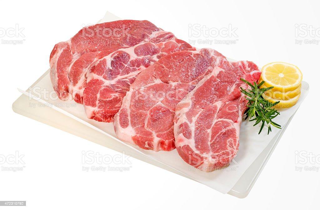 Raw Pork Steaks stock photo