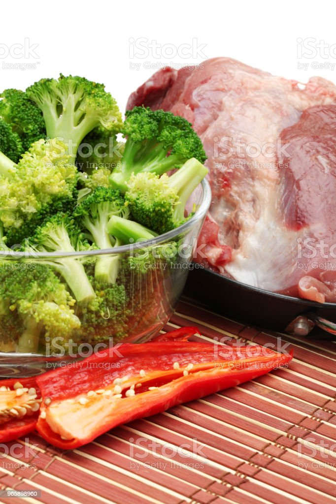 Raw pork ,Vegetable collection( peppers, broccoli) isolated on white background - Royalty-free Biology Stock Photo