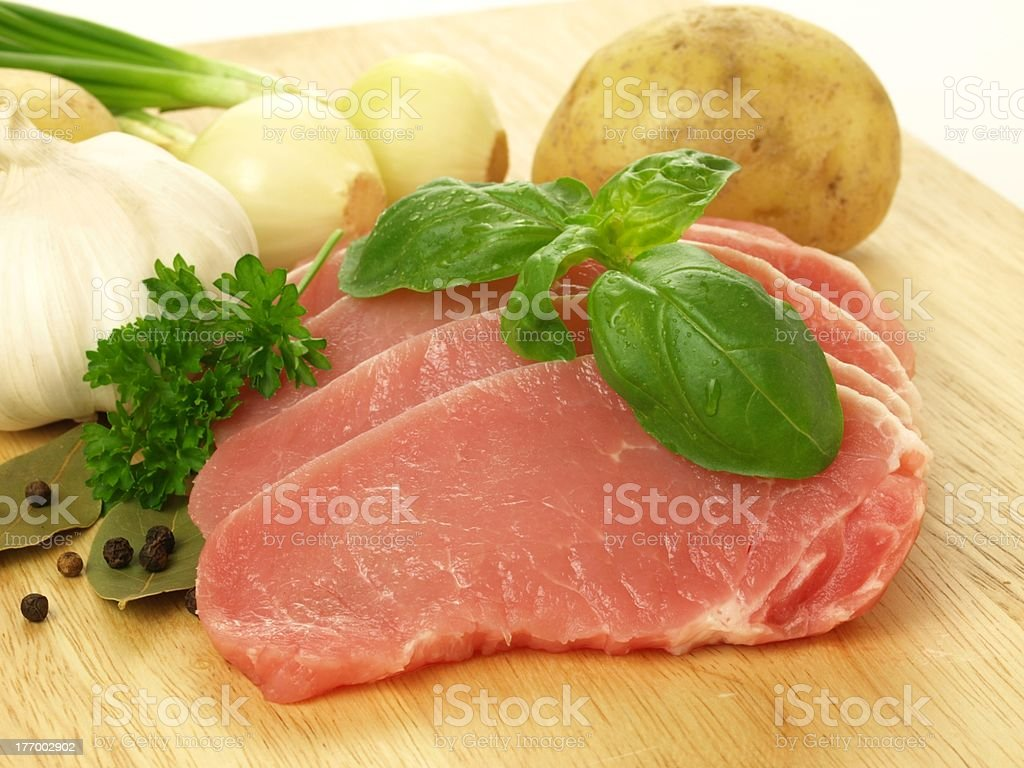 Raw pork with vegatables royalty-free stock photo