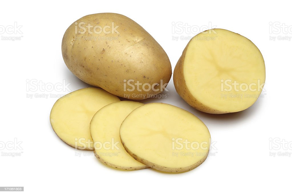 Raw Potato Full body and Freshly cut Isolated on white stock photo