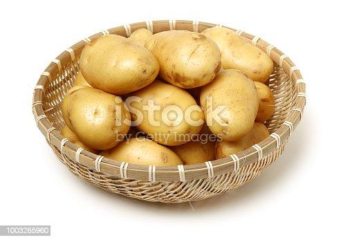 Raw Potato Full body Isolated on White Background