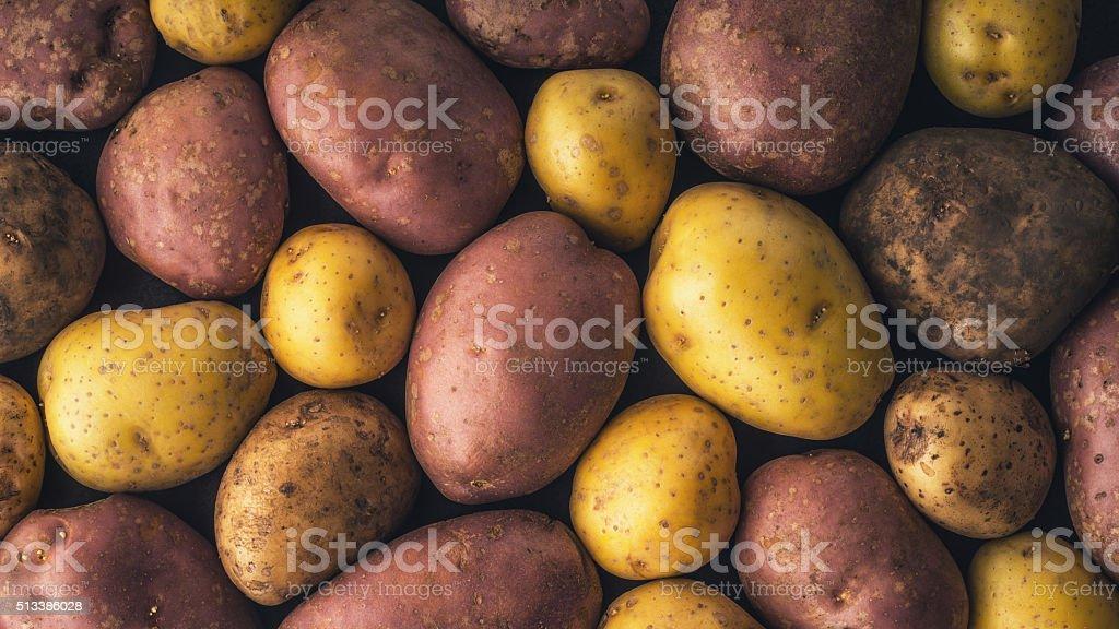 Roh Kartoffeln Hintergrund horizontale Lizenzfreies stock-foto