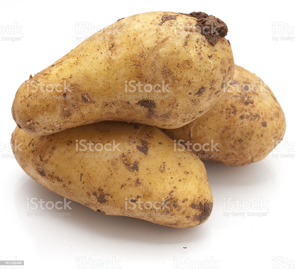Raw Potatoes on White royalty-free stock photo