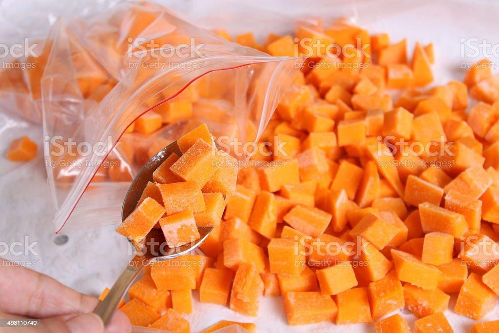 Raw pumpkin cubes in a spoon stock photo