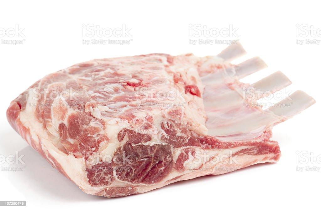 Raw rack of lamb, isolated on white stock photo