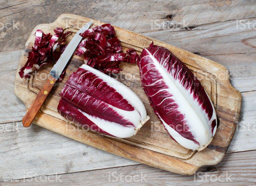 Raw red chicory stock photo