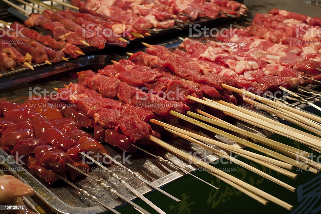 Raw red meat skewers royalty-free stock photo