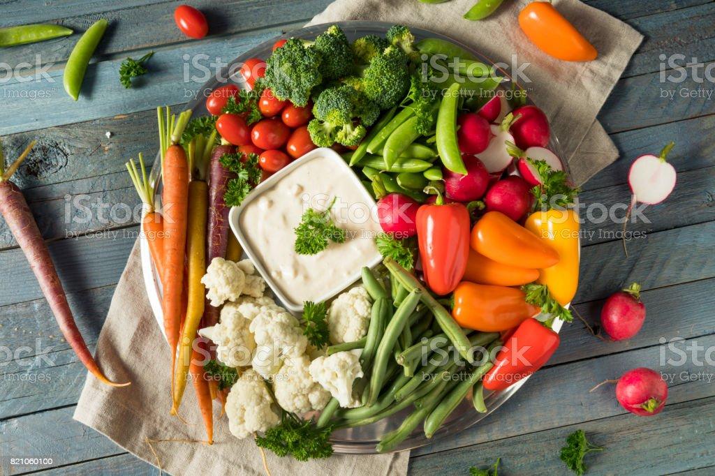 Raw Refreshing Vegetable Crudites Plate stock photo