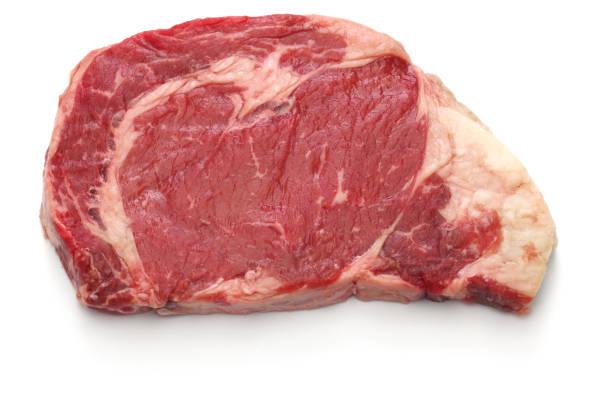 raw rib eye steak