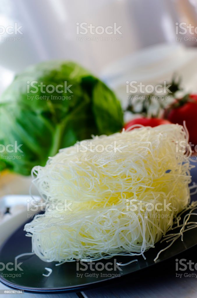 Raw rice noodles stock photo