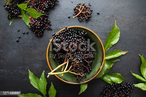 istock Raw ripe elderberry in a bowl standing on a dark table 1271495892