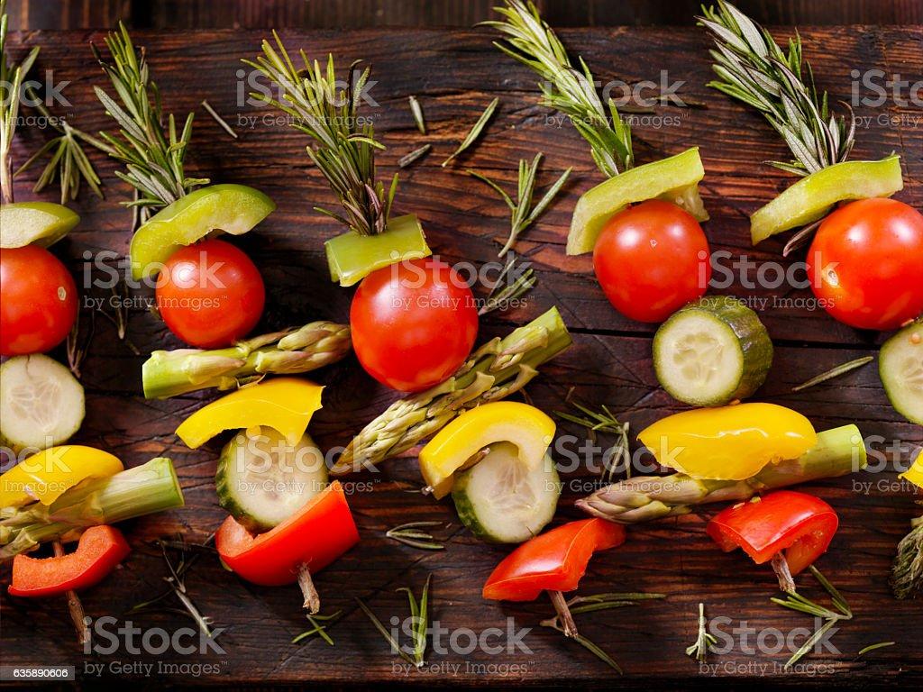 Raw, Rosemary Vegetable Skewers stock photo