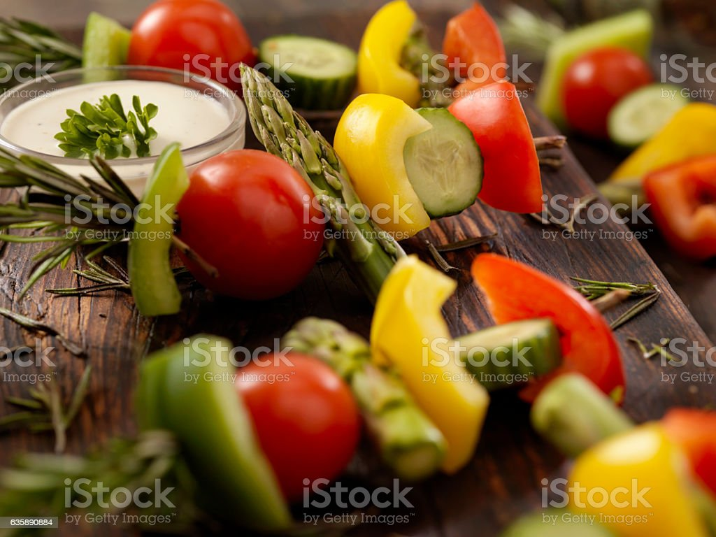 Raw, Rosemary Vegetable Skewers with Dip stock photo