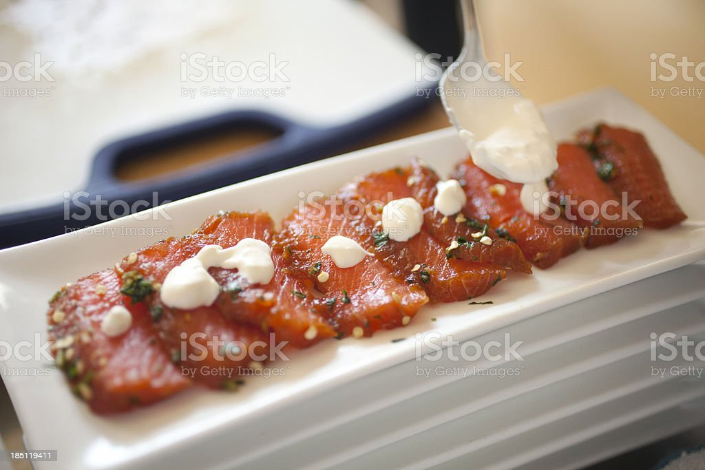 Raw salmon appetizer stock photo