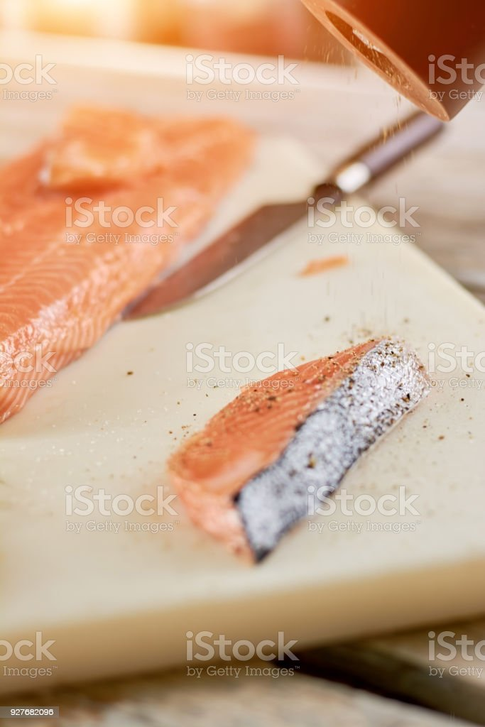 Raw Salmon Cooking Process Stock Photo More Pictures Of Acid Istock