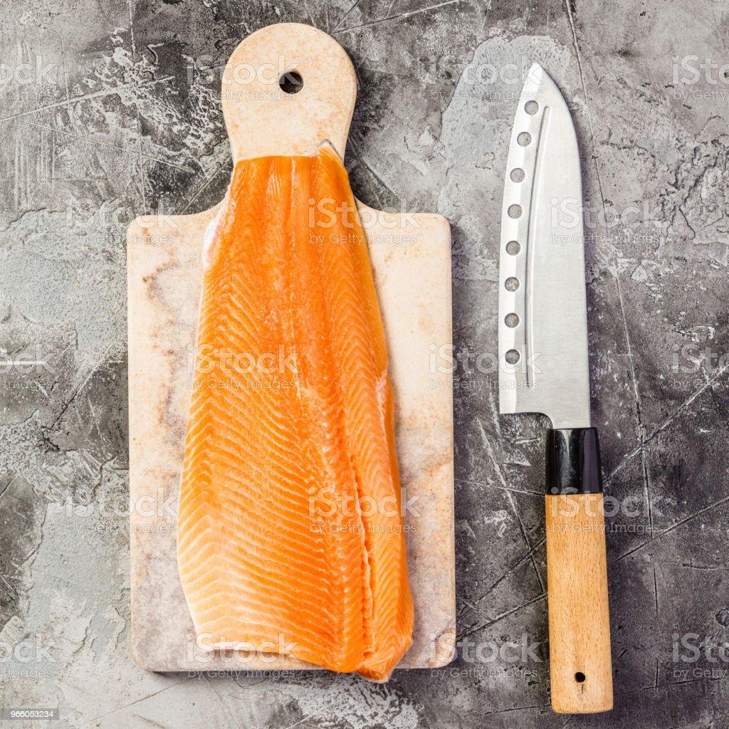 Roher Lachs Filet und Zutaten - Lizenzfrei Asien Stock-Foto