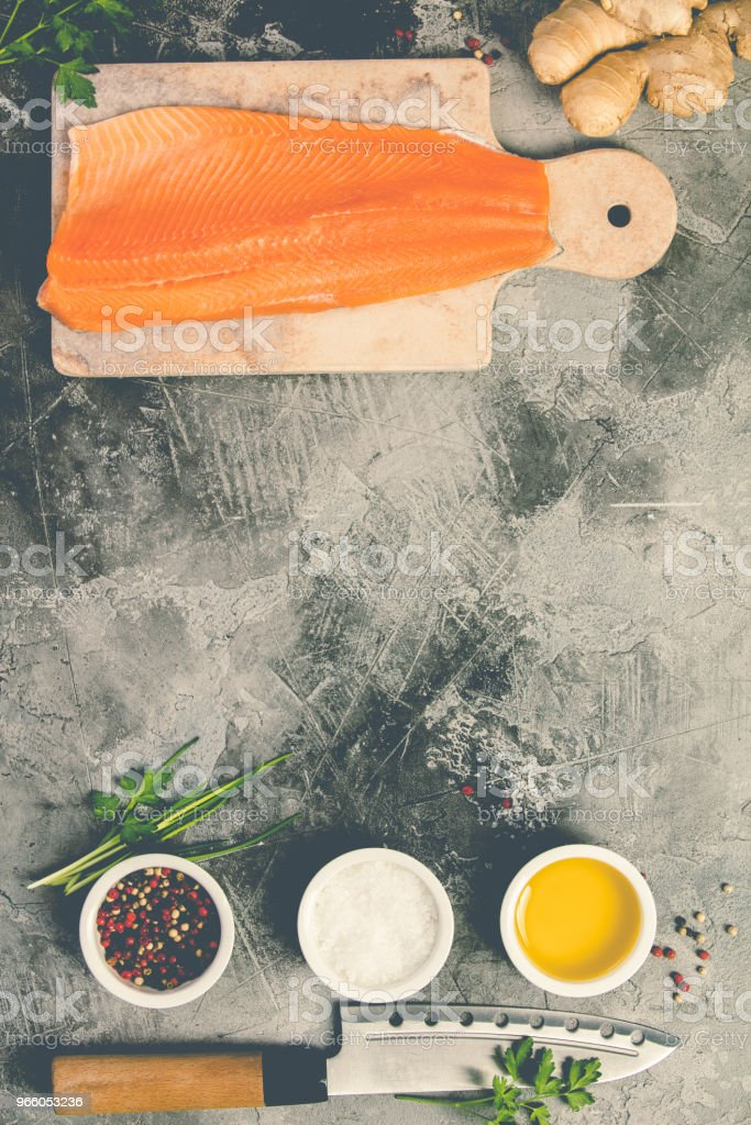 Raw salmon filet and ingredients - Royalty-free Agriculture Stock Photo