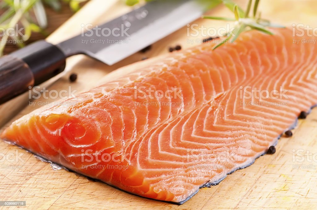Raw Salmon Filet stock photo