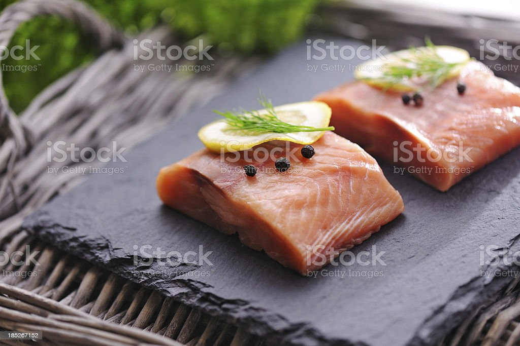 Raw Salmon Filets stock photo